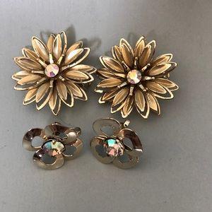 Vintage clip/screw on earrings 2 pair